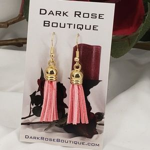 Dark Rose Boutique Jewelry - Fun Pink Tassels on French Hooks.